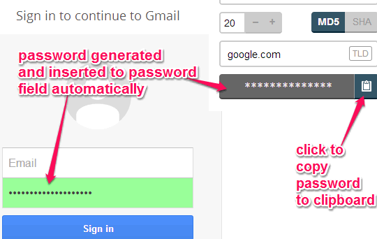 copy generated password to clipboard