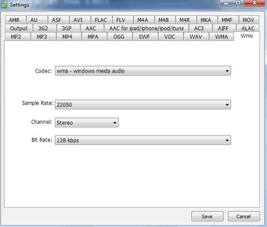 customize output settings