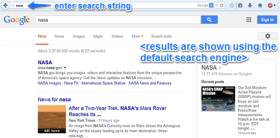 default search style omnibar