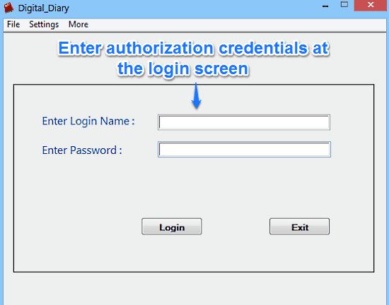 diary login screen