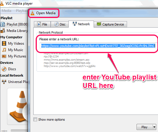 enter YouTube playlist URL in Network tab of Open Media window