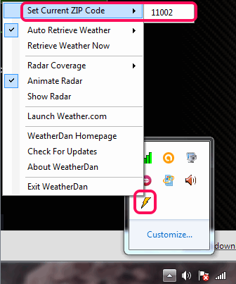 enter a particular zip code to fetch weather report
