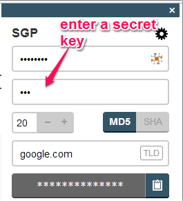 enter secret key