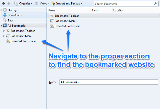 firefox bookmark manager