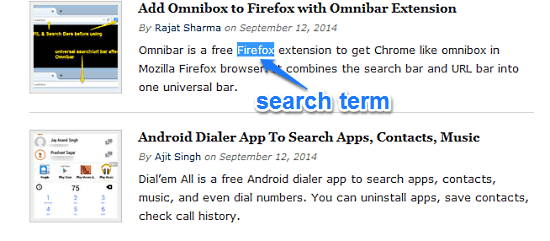 firefox select search term