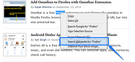 firefox wikisearch in action