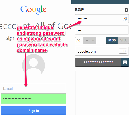 Generate Unique Password For Each Website by Using Master