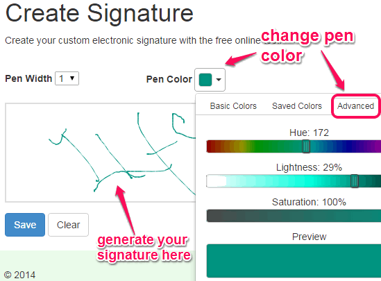 generate your signature with favorite color