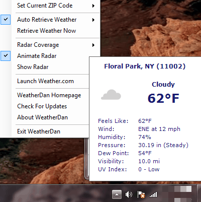 get current weather report for specified zip code