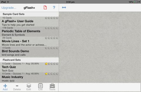 iPad Flash Card Maker Dashboard