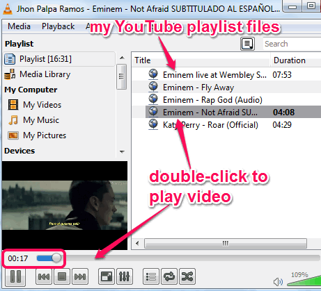 import YouTube playlist and play in VLC