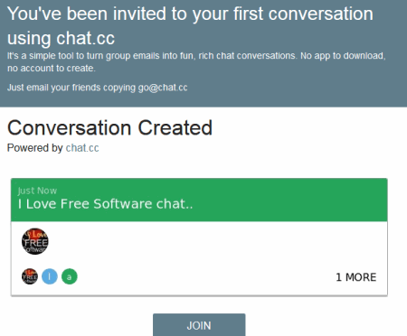 invitation email received to join the chat room