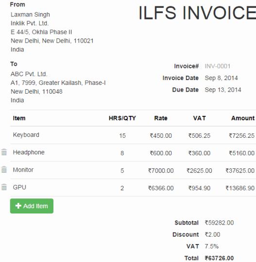 invoice prepared