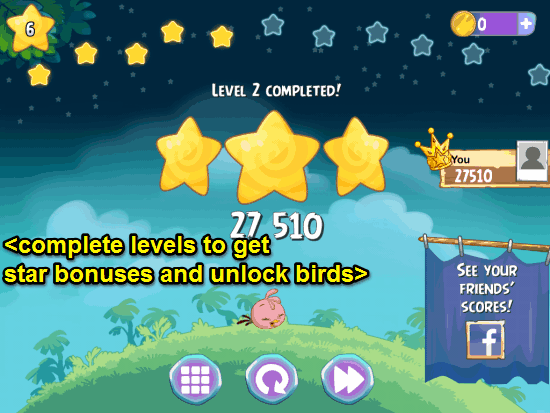 level complete angry birds stella