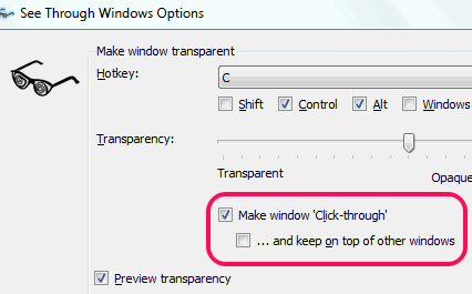 make window click through option