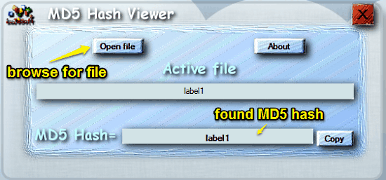 md5 hash viewer ui