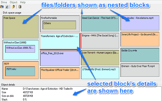nested block disk space analysis
