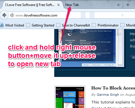 open a new tab with gesture