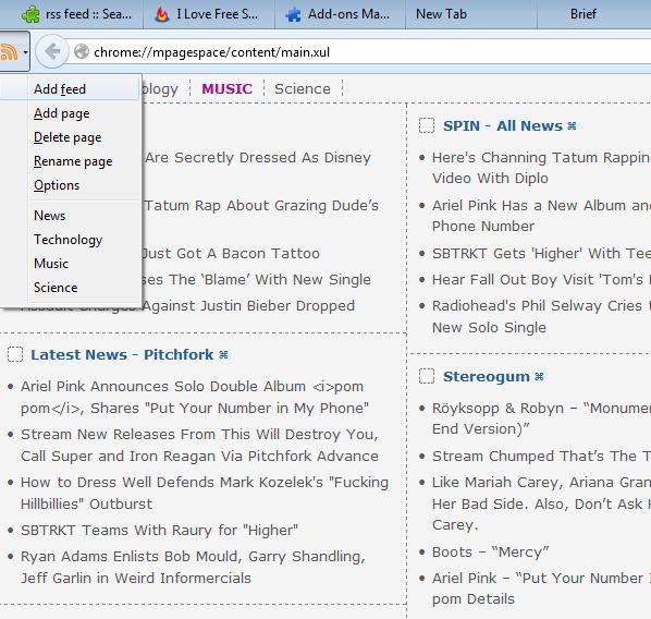 rss feed reading addons for Firefox 4