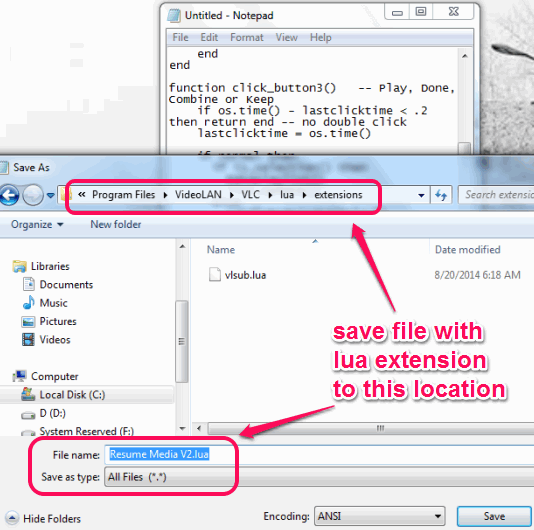 save file with lua extension