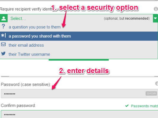 select a security option
