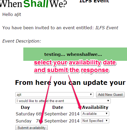 select availability date and submit response