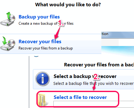 select backup file to recover