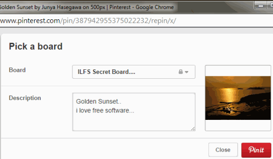 select board to pin the image