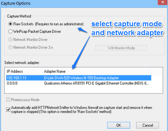 select capture method