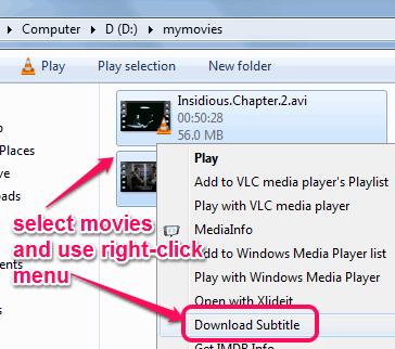 select movies and use right-click menu