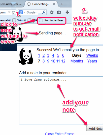send webpage to server and select day number to receive email notification