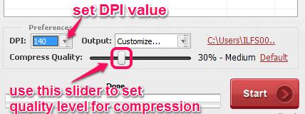 set DPI value and compression quality
