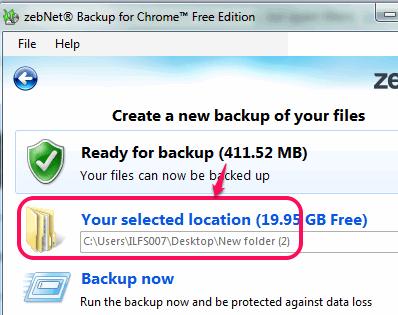 set destination folder and start the backup