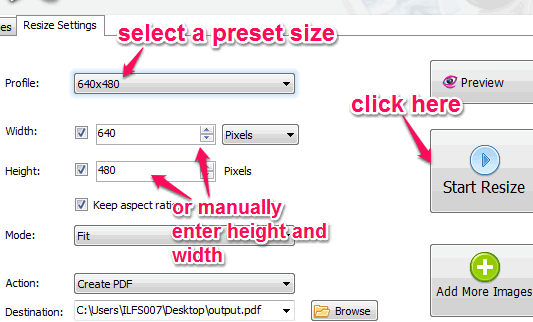 set output size for images and start resizing process