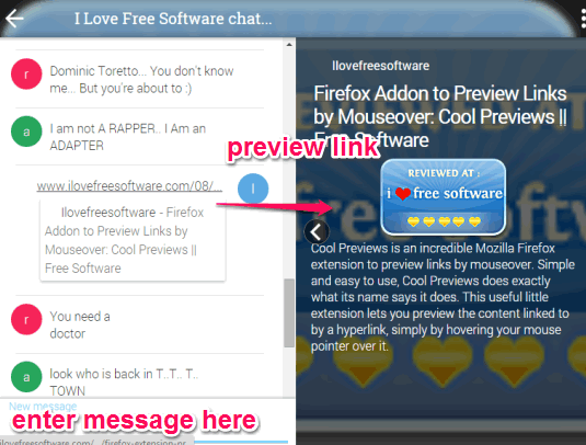 start private chat and preview links within chat room