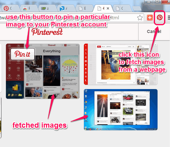 use Pin It icon to fetch images from webpage