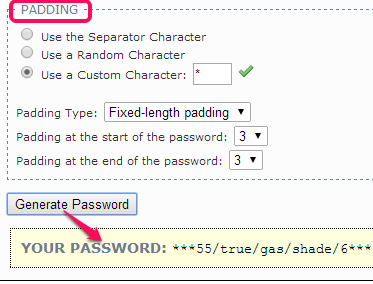 use padding and generate password