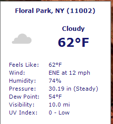 weather details of specified zip code
