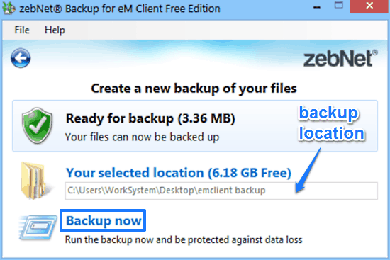 zebnet backup for em client backup prompt