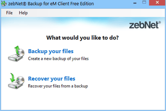 zebnet backup for em client mainui