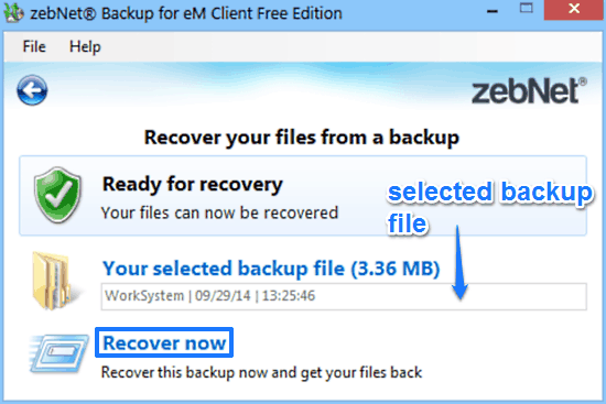 zebnet backup for em client recovery prompt