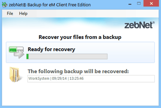 zebnet backup for em client recovery