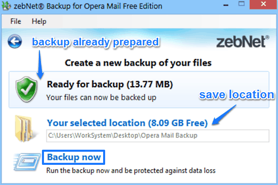 zebnet backup for opera mail backup prompt