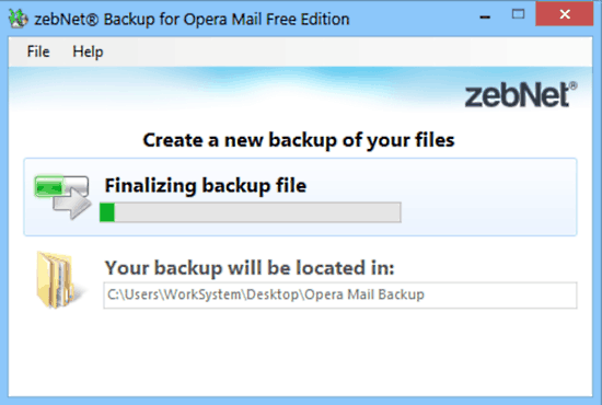 zebnet backup for opera mail backup
