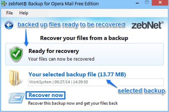 zebnet backup for opera mail recovery prompt