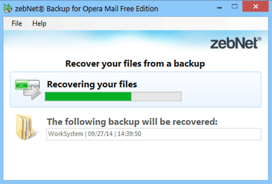 zebnet backup for opera mail recovery
