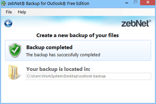 zebnet backup for outlook backup done