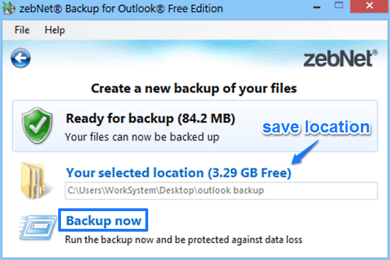 zebnet backup for outlook backup prompt