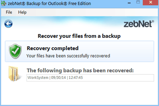 zebnet backup for outlook recovery done
