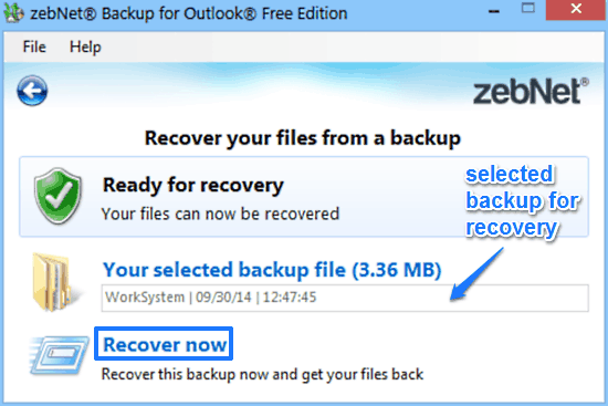 zebnet backup for outlook recovery prompt
